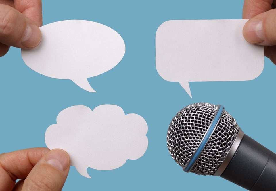 public relations interview microphone with quotes